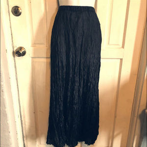Weathervane Crinkle Silk Maxi Skirt Black Boho XL